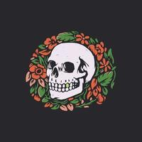 Skull with floral illustration vector