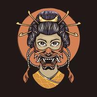Geisha with oni mask vector