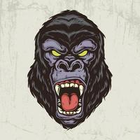 Gorilla head hand drawn illustration vector