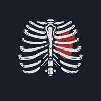 Heart in a rib hand drawn illustration vector