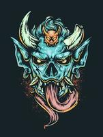 Scary demon head illustration vector