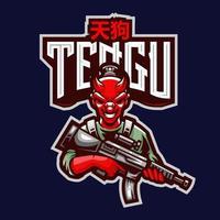 logotipo de tengu japonés vector