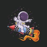 cute astronaut ride rocket jet illustration vector