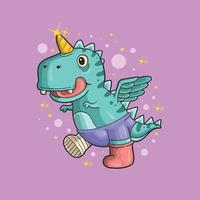 cute little dinosaur unicorn adorable illustration vector