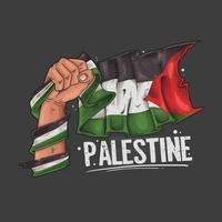 asimiento de la mano ilustración de la bandera de palestina vector