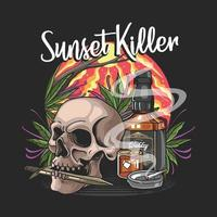 skull with knife and wishkey in sunset illustration vector