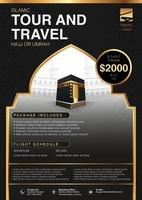 Islamic Ramadan Hajj Umrah Brochure or Flyer Template Background Vector Design With praying hands and mecca Illustration in 3D realistic design