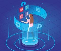 woman with glasses of reality augmented and social media icons vector