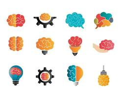 bundle of brainstorming with set icons vector