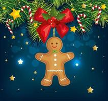 christmas poster with ginger cookie and decoration vector