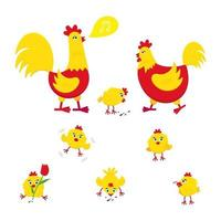 Yellow and red chicken with broken egg nest set of chicks and a rooster vector