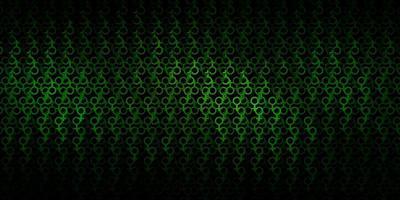 Dark Green vector backdrop with mystery symbols