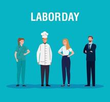 labor day poster with people of different professions vector