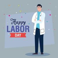 labor day poster with man doctor vector