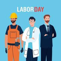 labor day poster with men group different occupation vector