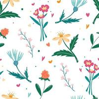 Seamless pattern with wildflowers vector