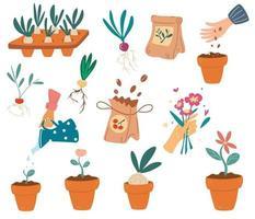 Set of Gardening elements vector