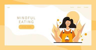 Mindful eating meditation vector