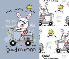 little bunny on the scooter funny cartoon with seamless pattern vector