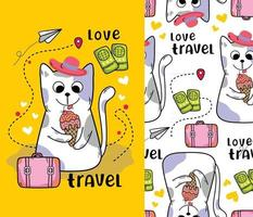 cat on holiday funny cartoon with seamless pattern vector