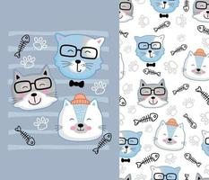 cool cat funny animal cartoon with seamless pattern vector