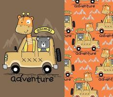 giraffe and bear on the car funny cartoon with seamless pattern vector