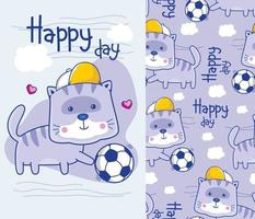 cat playing soccer funny cartoon with seamless pattern vector