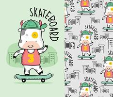 cow playing skateboard funny cartoon with seamless pattern vector