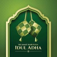 Ketupat Idul Adha in Green Background vector