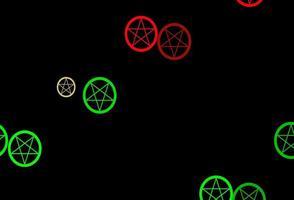Fondo de vector verde rosa oscuro con símbolos ocultos