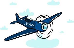 esta es una ilustración plana de un avión volando en las nubes vector