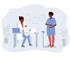 A pregnant African American woman at the reception of an obstetrician gynecologist determines her weight vector