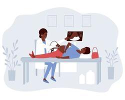 el médico realiza un examen de ultrasonido de una mujer afroamericana embarazada vector