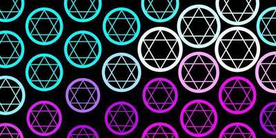 textura de vector azul rosa oscuro con símbolos religiosos