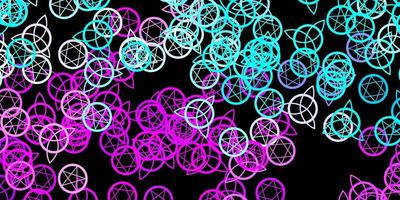 Plantilla de vector azul rosa oscuro con signos esotéricos