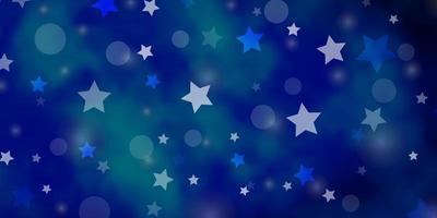 Plantilla de vector azul claro con círculos ilustración de estrellas con un conjunto de coloridas esferas abstractas textura de estrellas para cortinas de persianas de ventana