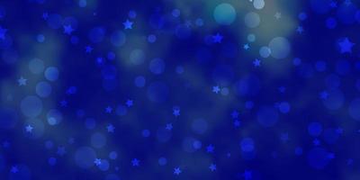 Plantilla de vector azul claro con círculos estrellas discos de colores estrellas en textura de fondo degradado simple para cortinas de persianas de ventana