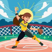 Pitch Throw Ball in Summer Camp vector