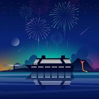 Fireworks Party at Cruise Ship vector