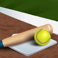 bate y pelota realista en la cancha de softbol vector
