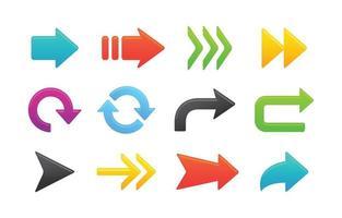 flechas de colores con diferentes formas vector