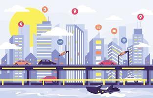 Blue Smart City Concept vector