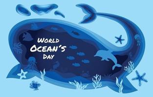 World Ocean Day Papercut Concept vector