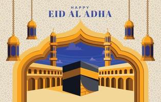 Golden blue Eid Al Adha vector
