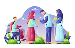 Family Visits on Eid Mubarak vector