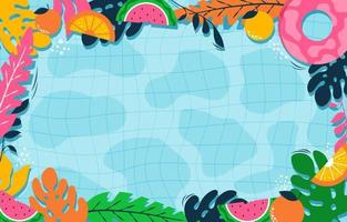 Colorfull Summer Floral and Liquid Background vector