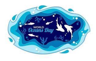 Paper Cut World Oceans Day Concept vector