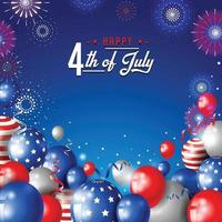 4th of July Consept Design With Balloon And Firework vector