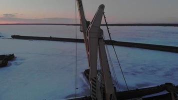 Winter condition of logistic ships aerial shooting video
