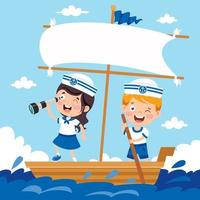 Cute Little Children In Sailor Uniform vector